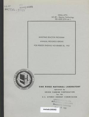 Primary view of object titled 'Maritime Reactor Project Annual Progress Report for Period Ending November 30, 1963'.