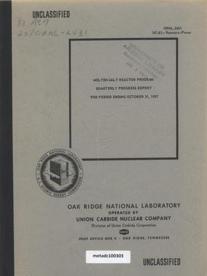 Primary view of object titled 'Molten-Salt Reactor Program Quarterly Progress Report: October 1957'.