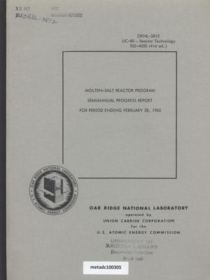 Primary view of object titled 'Molten-Salt Reactor Program Semiannual Progress Report for Period Ending February 28, 1965'.