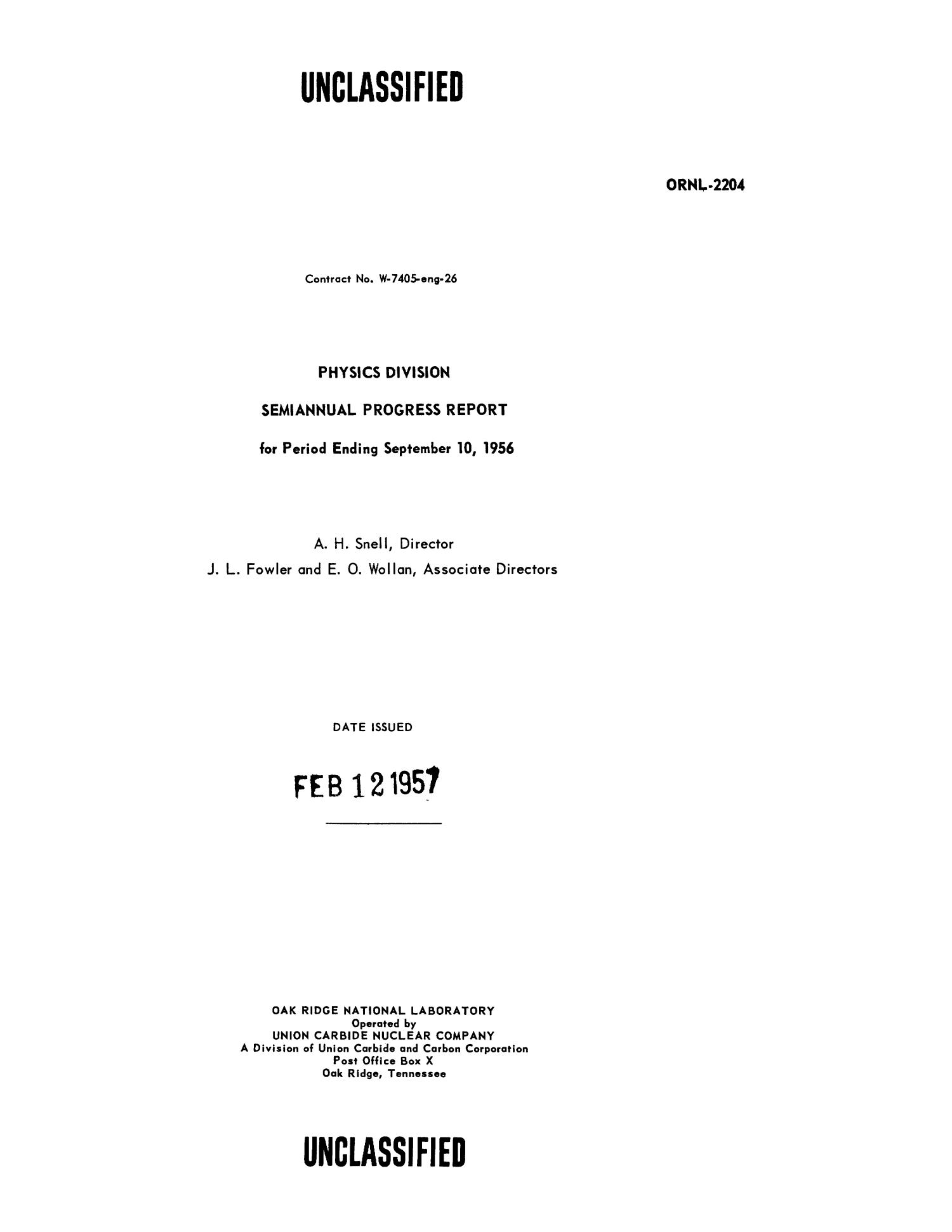 Physics Division Semiannual Progress Report for Period Ending September 10, 1956                                                                                                      Title Page