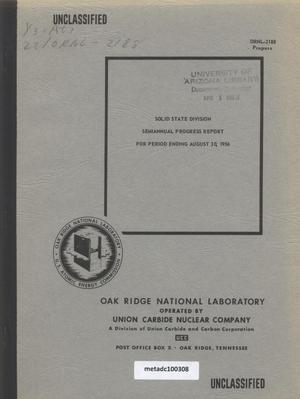 Primary view of object titled 'Solid State Division Semiannual Progress Report for Period Ending August 30, 1956'.
