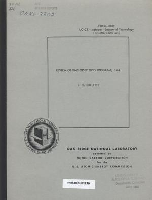 Primary view of object titled 'Review of Radioisotopes Program, 1964'.