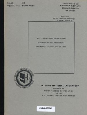 Primary view of object titled 'Molten-Salt Reactor Program Semiannual Progress Report, July 31, 1963'.