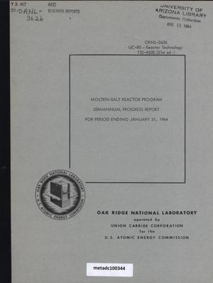 Primary view of object titled 'Molten-Salt Reactor Program Semiannual Progress Report, January 31, 1964'.