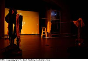 Primary view of object titled '[Stage with Ali Performance Props]'.