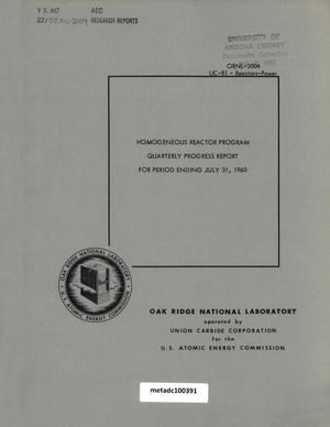 Primary view of object titled 'Homogeneous Reactor Project Quarterly Progress Report: May-July 1960'.