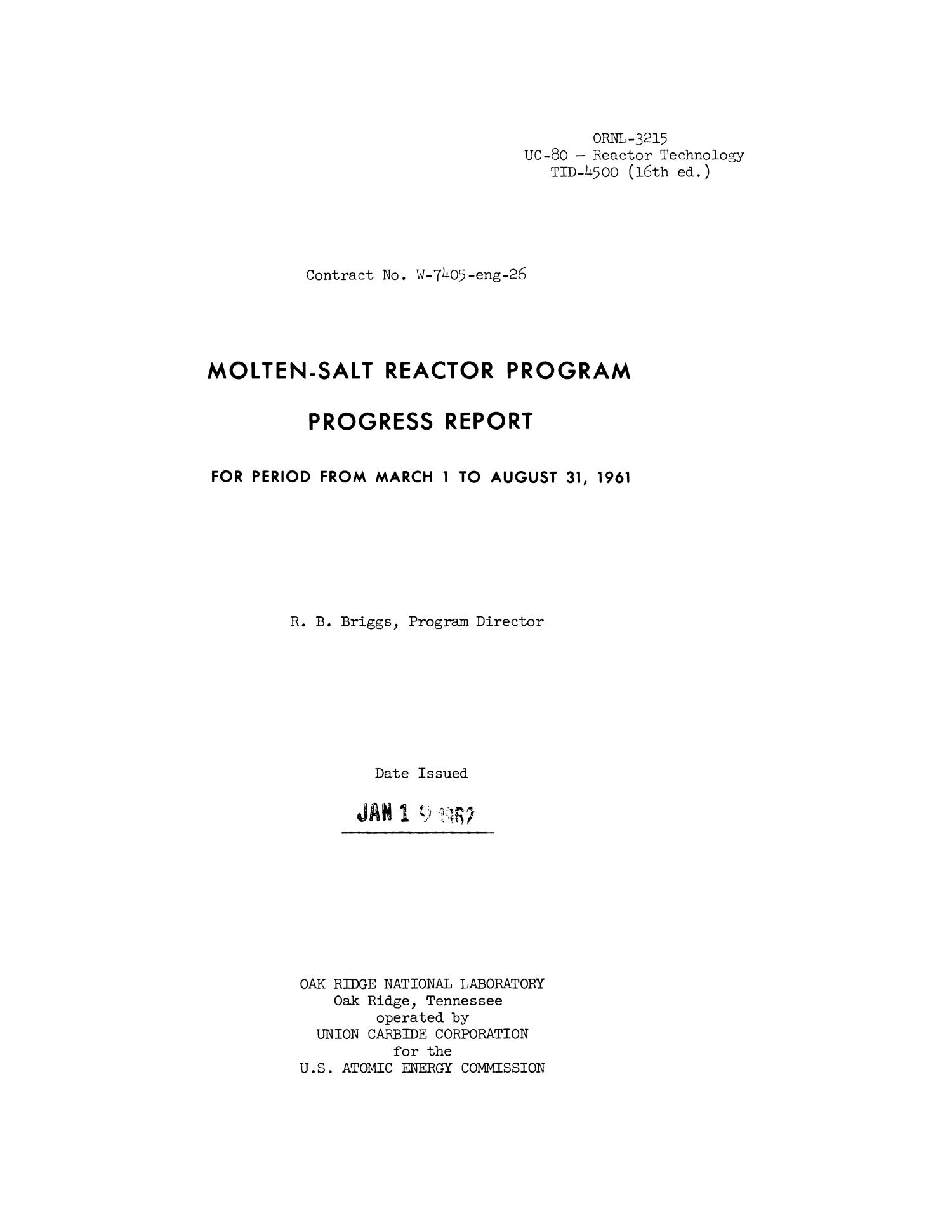 Molten-Salt Reactor Program Semiannual Progress Report, March 1 - August 31, 1961                                                                                                      Title Page