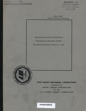 Primary view of object titled 'Molten-Salt Reactor Program Semiannual Progress Report: for Period Ending August 31, 1962'.