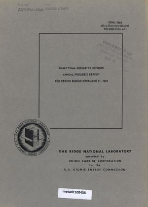 Primary view of object titled 'Analytical Chemistry Division Annual Progress Report for Period Ending December 31, 1959'.
