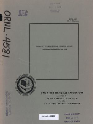 Primary view of object titled 'Analytical Chemistry Division Annual Progress Report, May 20, 1970'.