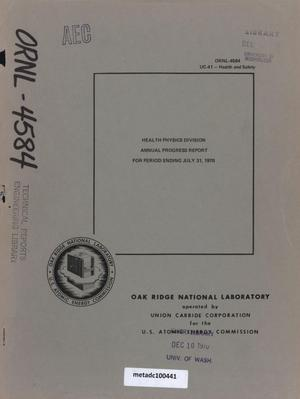 Primary view of object titled 'Health Physics Division Annual Progress Report, July 31, 1970'.