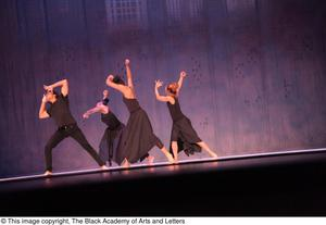 Primary view of object titled '[Dancers in black on stage]'.