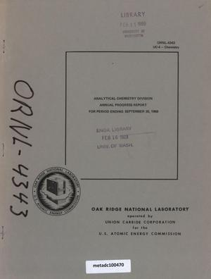 Primary view of object titled 'Analytical Chemistry Division Annual Progress Report, September 30, 1968'.