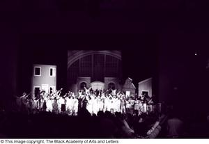 Primary view of object titled '[Curtis King on Stage with Performers]'.