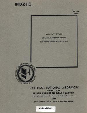 Primary view of object titled 'Solid State Division Semiannual Progress Report, August 30, 1955'.