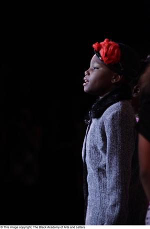 Primary view of object titled '[Young actress performs in Aretha: The Musical]'.