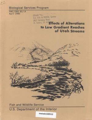 Primary view of object titled 'Effects of Alterations to Low Gradient Reaches of Utah Streams'.