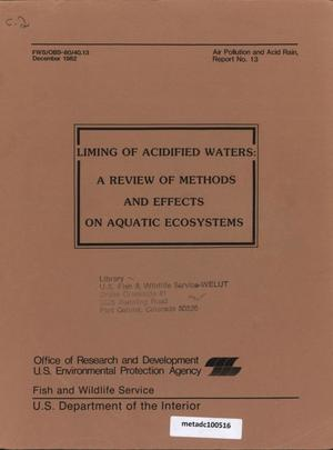 Primary view of object titled 'Liming of Acidified Waters: A Review of Methods and Effects on Aquatic Ecosystems'.
