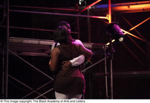 Primary view of object titled '[Actors perform a dance sequence in Aretha: The Musical]'.