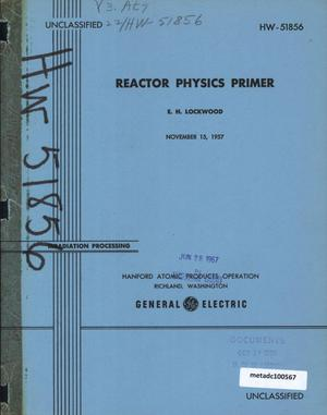 Primary view of object titled 'Reactor Physics Primer'.