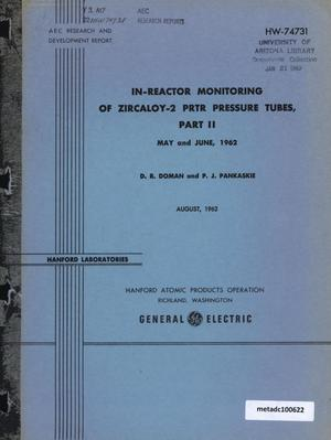 Primary view of object titled 'In-Reactor Monitoring of Zircaloy-2 Plutonium Recycle Test Reactor Pressure Tubes: Part 2, May and June, 1962'.