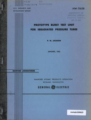 Primary view of object titled 'Prototype Burst Test Unit for irradiated Pressure Tubes'.