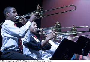Primary view of object titled '[Trombone Players Performing]'.