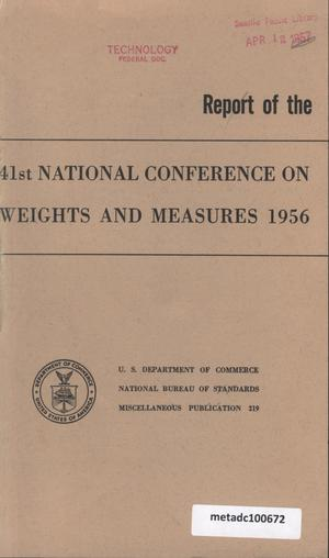 Primary view of object titled 'Report of the Forty-First National Conference on Weights and Measures, 1956'.