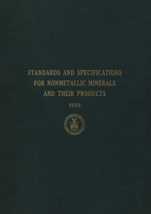 Primary view of object titled 'Standards and Specifications for Nonmetallic Minerals and Their Products'.