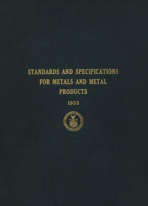 Primary view of object titled 'Standards and Specifications for Metals and Metal Products'.