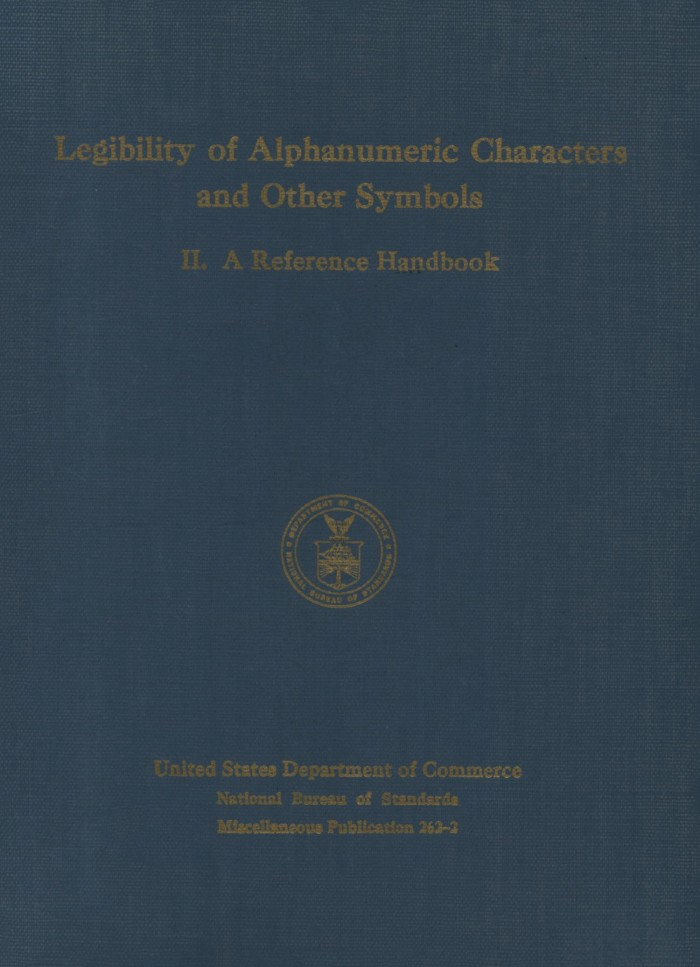 Legibility Of Alphanumeric Characters And Other Symbols 2 A