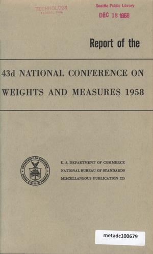 Primary view of object titled 'Report of the Forty-Third National Conference on Weights and Measures, 1958'.