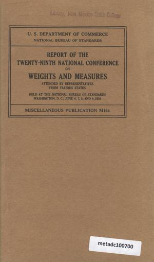 Primary view of object titled 'Report of the Twenty-Ninth National Conference on Weights and Measures, 1939'.