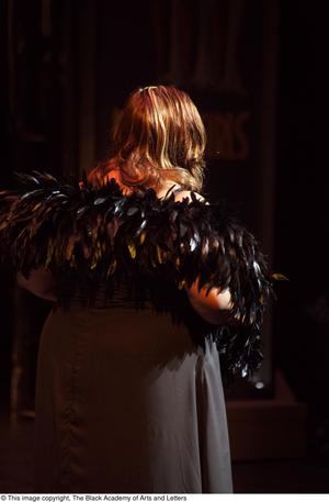 Primary view of object titled '[Performer with a black feather boa]'.