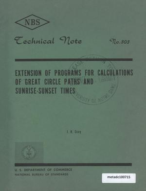 Primary view of object titled 'Extension of Programs for Calculations of Great Circle Paths and Sunrise-Sunset Times'.