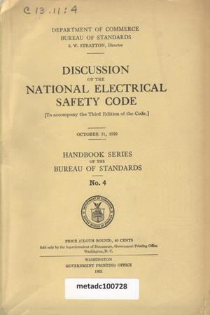 Primary view of object titled 'Discussion of the National Electrical Safety Code: (to Accompany the Third Edition of the Code), October 31, 1920'.