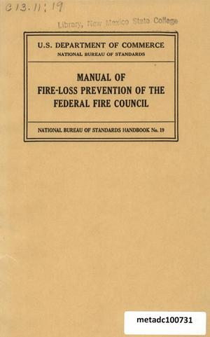 Primary view of object titled 'Manual of Fire-Loss Prevention'.