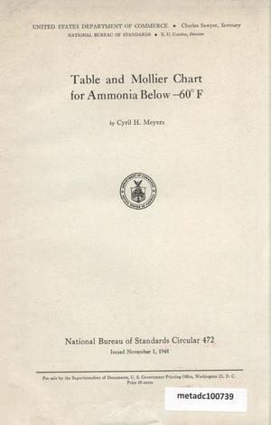 Primary view of object titled 'Table and Mollier chart for ammonia below -60° F'.