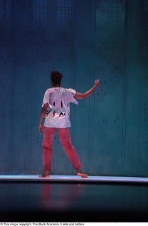 Primary view of object titled '[Thriller dancer on stage]'.