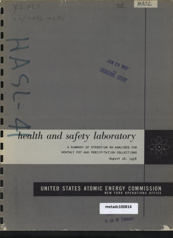 Primary View Of Object Titled A Summary Strontium 90 Analyses For Monthly Pot And