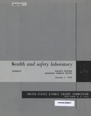 Primary view of object titled 'Health and Safety Laboratory Fallout Program Quarterly Summary Report: September 1, 1971 - December 1, 1971, Appendix'.