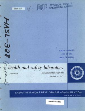 Primary view of object titled 'Health and Safety Laboratory Environmental Quarterly Report: October 1, 1977, Appendix'.