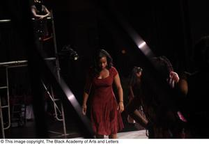 Primary view of object titled '[Actresses onstage at Aretha: The Musical]'.