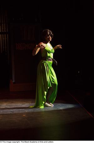 Primary view of object titled '[Performer in a green dress]'.