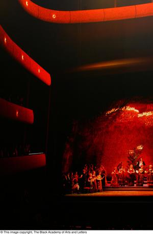 Primary view of object titled '[Stage, performers, and audience in red light]'.