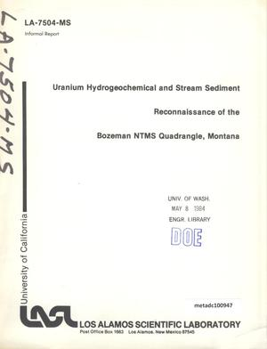 Primary view of object titled 'Uranium Hydrogeochemical and Stream Sediment Reconnaissance of the Bozeman NTMS Quadrangle, Montana'.