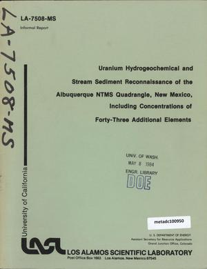 Primary view of object titled 'Uranium Hydrogeochemical and Stream Sediment Reconnaissance of the Albuquerque NTMS Quadrangle, New Mexico, Including Concentrations of Forty-Three Additional Elements'.