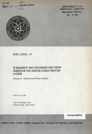 30 Megawatt Heat Exchanger and Steam Generator for Sodium