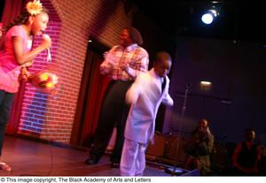 Primary view of object titled '[Kirondria Woods and Rachel Webb singing while boy in white suit dances and Curtis King watches]'.