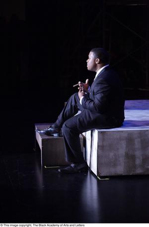 Primary view of object titled '[Actor performs in Aretha: The Musical]'.